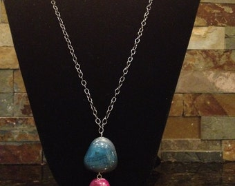 Black Pewter Gunmetal Long Chain Necklace with Magenta Pink and Blue Gemstone Pendant