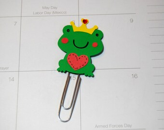 Frog Prince - Clip Page Clip Bookmark Paper Clip Handmade