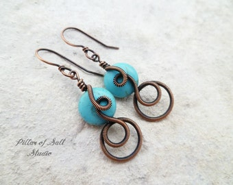 Wire wrapped earrings / wire wrapped jewelry handmade / wire jewelry / copper jewelry / Turquoise magnesite / earthy jewelry / boho earrings