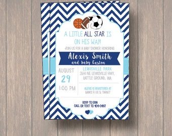 Baby Shower Invitation, Sports Baby Shower, Sports Theme Baby Shower, Boy  Invitation,