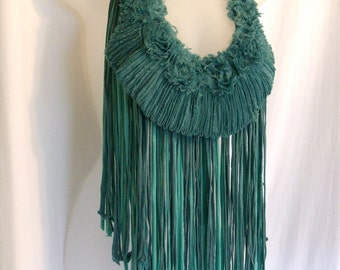 necklace, necklace scarf, green scarf, one of a kind, shabby boho, boho chic clothing, altered, up cycled,  fringe clothing, women's scarf