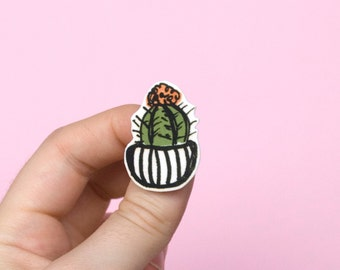 Cactus Brooch with Striped Flowerpot