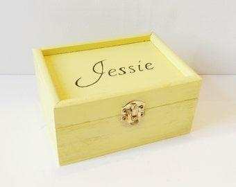 Personalised wooden box - Yellow Box - Personalised Jewellery box - Ring box - Trinket Box - Gift Box - Bridesmaid Box - Personalised Gift