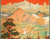 Norway Midnight Sun Travel Poster 1930s - Print