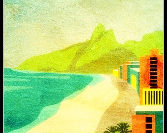 Brasil Ipanema Travel Poster 1920s - Print 8 x 10