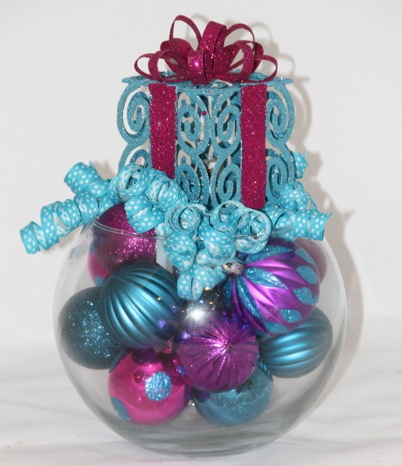 Red Turquoise Not Just For Holiday Decor: Items Similar To Christmas Centerpiece, Purple And