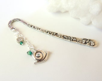 Handmade Bookmark with Snail, Tibetan Silver Bookmarks, Flower Bookmarks, Metal Bookmarks, Handmade Bookmarks Gift Idea, Bookmark