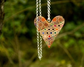 Heart necklace from colored pencils