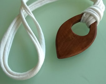 Wooden organic teething necklace, football shape, odd shape, oval.