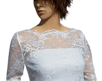 White Lace Bridal V Back with Button detail  cover up / Bolero in sizes UK  8 to 18