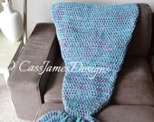 Mermaid Lap Blanket, Hand Crochet, Adult Size, Throw Blanket