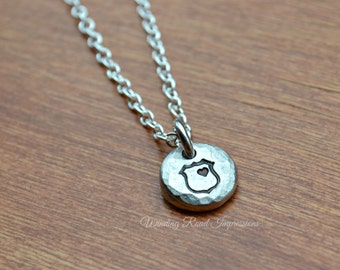 Behind The Badge- Hand Stamped LEO Pewter Pebble Necklace