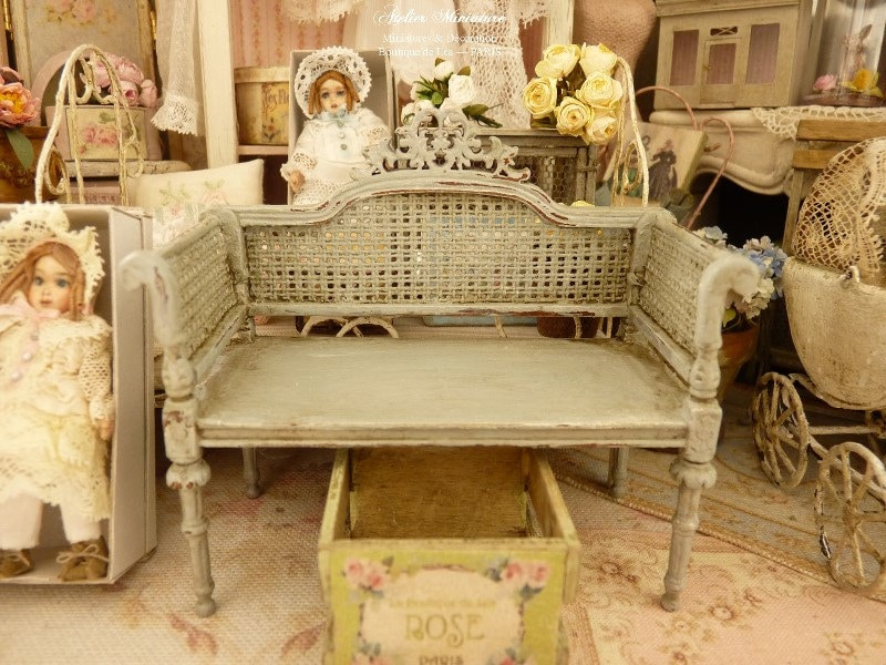 Miniature Shabby French loveseat Distressed Cottage Green
