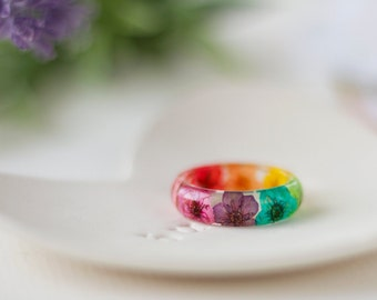 Real Flower Ring - Rainbow Blossom , Pressed Flower Jewelry , Gifts for Her , Resin Ring , Real Flower Jewelry , Resin Jewelry , Rainbow