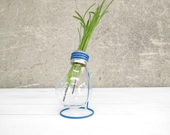 Delta blue, recycled light bulb E27 vase with metal stand upcycled reclaimed burnt reborn lightbulb plant holder office home decor, Paladim