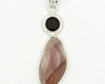 Enchanting! New Brown Imperial Jasper,Garnet 925 Sterling Silver Pendant Jewelry A0498