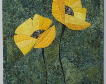 Art Quilt Poppies Yellow 2, Quilted Wall Hanging