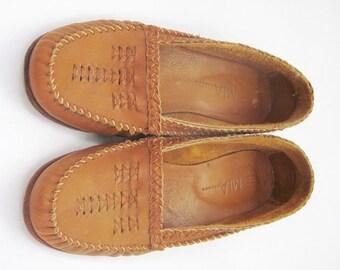 IOB Vintage MIA Tan Leather Apache Moccasin Loafers Sz8