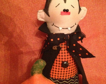 Primitive Halloween Vampire Dracula and Little Pumpkin Handmade Doll Decoration