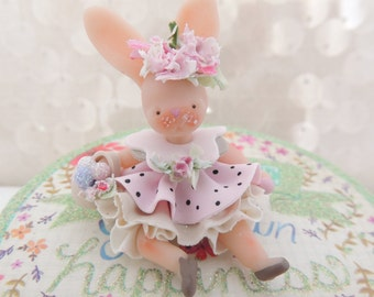 SALE EASTER BUNNY Girl with  Wee Easter basket Wee Miniature Figurine