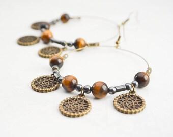 Creole earrings tiger eye - dreamcatcher earrings - tribal earrings, boho, ethnic, hanging round