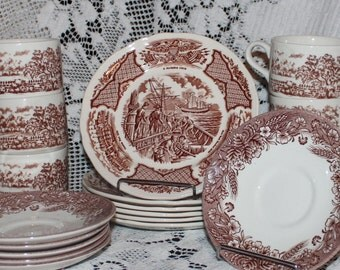 Brown transferware transfer ware Alfred Meakin Churchill England mismatched set Cups saucers dessert plates