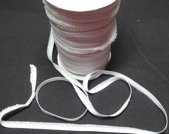 White Lingerie Elastic with Decorative Loop Edge, BY the YARD, 3/8 Inch Wide, Nylon Knit, Fabulous for Lingerie, Baby Sewing, & More