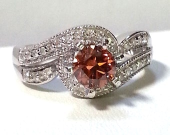 Pink and White Diamond .84ctw 14K White Gold Ring Size 5.5