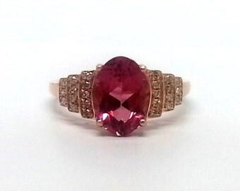 1.95ct Rubellite Tourmaline & Diamond 10K Rose Gold Ring Size 5.5