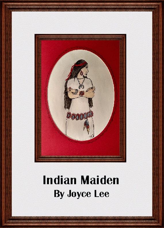Indian  Madian Southwestern Art Print By Wyoming Artist Joyce Lee