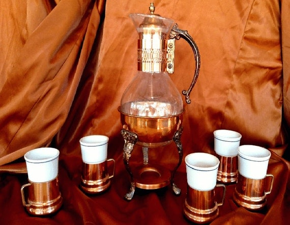Beautiful Copper Carafe Glass Chaffing Pot And Cups Set