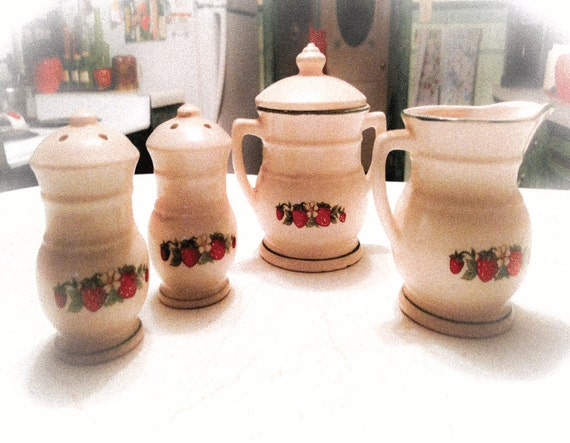 Vintage Strawberry Creamer, Sugar and Salt and Pepper Shakers Set