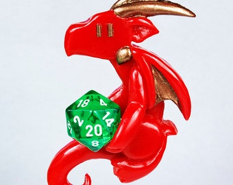 Cute dragon ornament holding a d20, dragon holding a twenty sided die, geeky Christmas ornament, playful dragon, holiday decor, DnD
