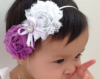 Purple Baby Headband, White Baby Headband, Baby Headband, Infant Headbands, Newborn Headband, White Headband, Rhinestone Headband, Toddler