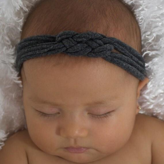 Newborn Knot Headband, Baby Knot Headband, Baby Headband, Baby Turban, Gray Headband, Celtic Knot Headband, Gray Knot Headband