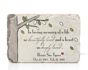 Memorial Stone. Memorial Gift. 6x9 Tumbled (Concrete) Paver. Remembrance Stone. In loving memory gift. Custom Sympathy Gift. Funeral Gift