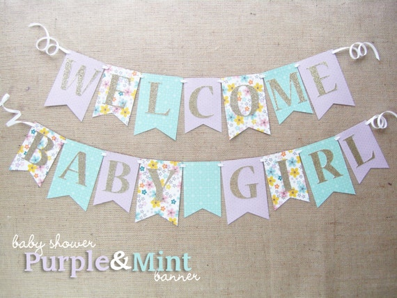 Purple mint and gold baby shower banner welcome baby girl for Baby welcome party decoration ideas