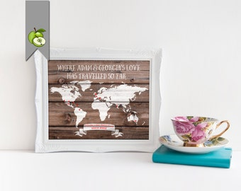 personalised Interactive travel map on wood effect or chalkboard gift for traveller explorer honeymoon map wedding gift anniversary gift
