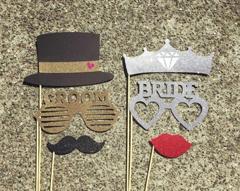 Bride & Groom GLITTER Photo Props- set of 6 - Photo Booth Props, Wedding, Bridal Shower, Bachelorette Party, Party Props