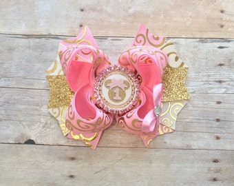 Pink & Gold Bow-Minnie Pink and Gold Bow- Minnie first Birthday- Pink Bow-Gold Bow-Princess Bow