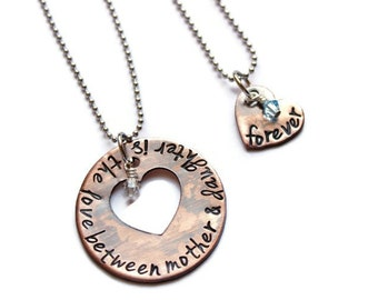 Hand Stamped Copper Mother Daughter Necklace Set The Love Between Mother & Daughter Is Forever