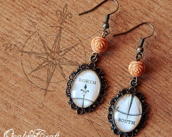 "OOAK Wind rose compass ""North-South"" bronze tone cameo earrings Steampunk/Victorian/Vintage style"