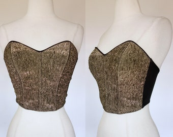 1980s gold bustier, strapless, cropped, metallic, boned Les Pelices top, small