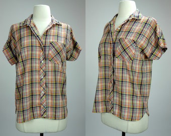 Plaid blouse, short sleeve button up cuffed sleeve cotton blouse, Large, Felice