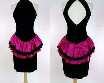 1980s ruffled wiggle dress, black velvet, pink satin tiered mini dress, open back, sleeveless, high neck, peplum and bow, Small