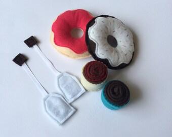 Toys - Pretend Food - Felt Food - Afternoon Tea - Birthday Gift - Children's Gift - Muffins - Tea Bags - Stocking Stuffer