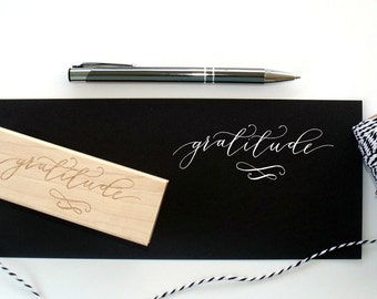 Gratitude in hand written calligraphy stamp | gift | paper supplies