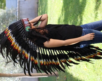 READY FOR HALLOWEEN . N82- Extra Large Three colors Feather Headdress (43 inch long )
