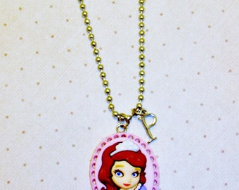 Sofia The First Necklace With Initials,  Sofia Cameo Initial Necklace, Girls Necklace, Girls Jewelry, Childrens Necklace, Childrens Jewelry