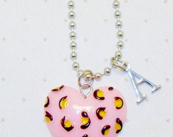 Pink Heart Necklace With Initials, Heart Necklace, Heart Jewelry